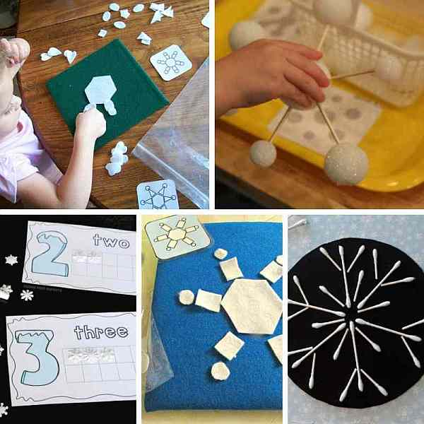 Snowflake busy bags for kids - promote fine motor development, early math with counting and patterns and more