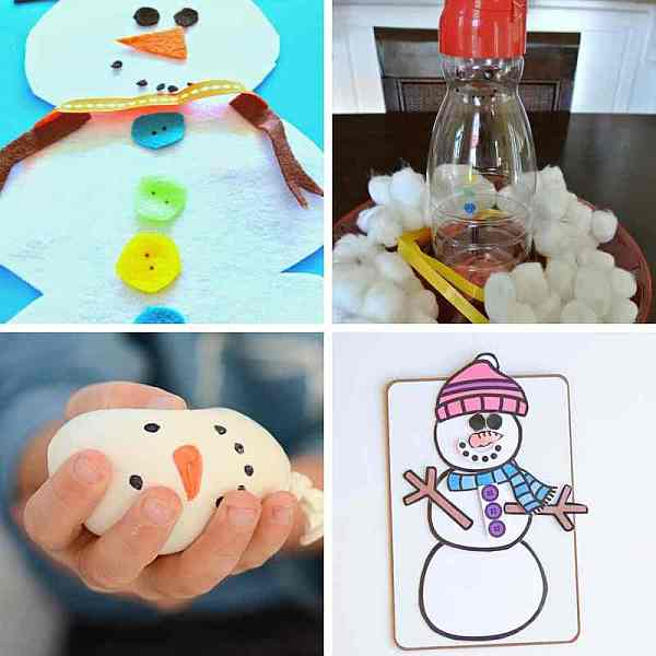 Easy snowman busy bags for kids to practice fine motor skills, pretend play and more during cold winter days