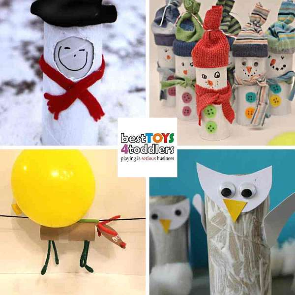 green winter crafts from toilet paper rolls - emo snowman, snowman bowling, flying reindeer, snowy owl
