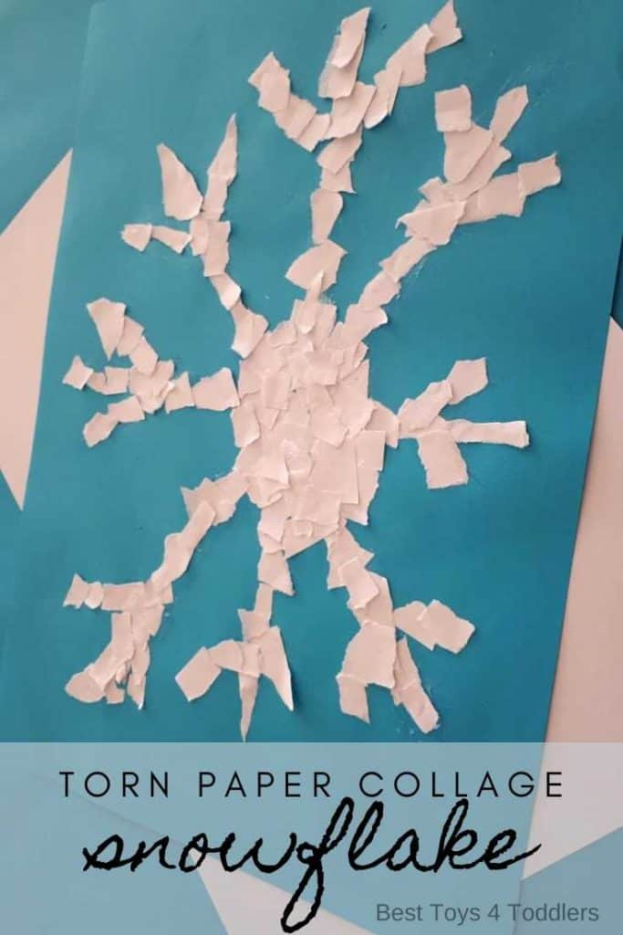 An easy winter project to make with your toddlers and preschoolers - torn paper snowflake collage. This simple winter process art project works wonders for fine motor skills, hand-eye coordination, concentration and other skills young children need to conquer before they start attending the school! #winter #wintercraft #easycraft #processart #sensoryplay #snowflakes #toddleractivities #preschoolactivities #besttoys4tots #winterart
