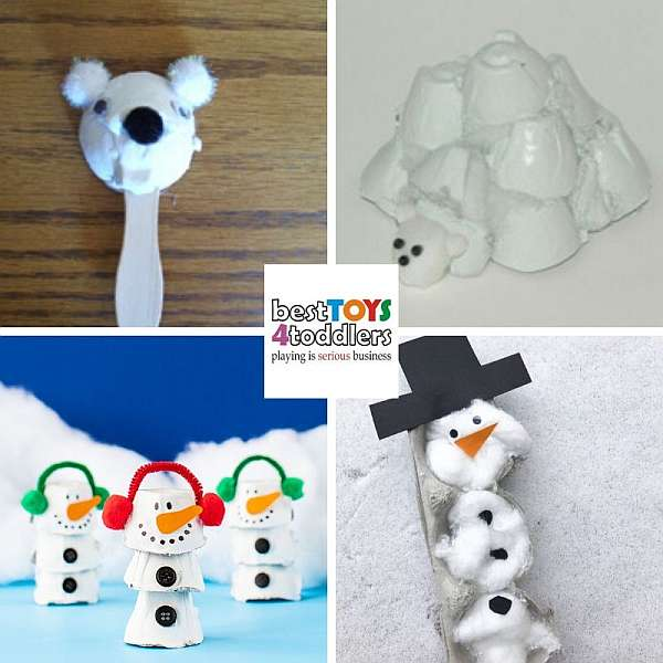 amazing egg container winter crafts for kids - polar bear, igloo, snowman