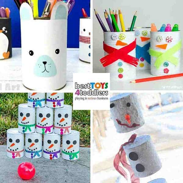 recycled tin can winter crafts for kids - polar bear, snowmen