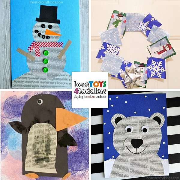 upcycled winter crafts from newspaper and magazines - snowman, winter wreath, penguins, polar bear