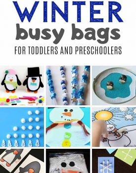 winter busy bags for toddlers and preschoolers for quiet time independent play on snowy days