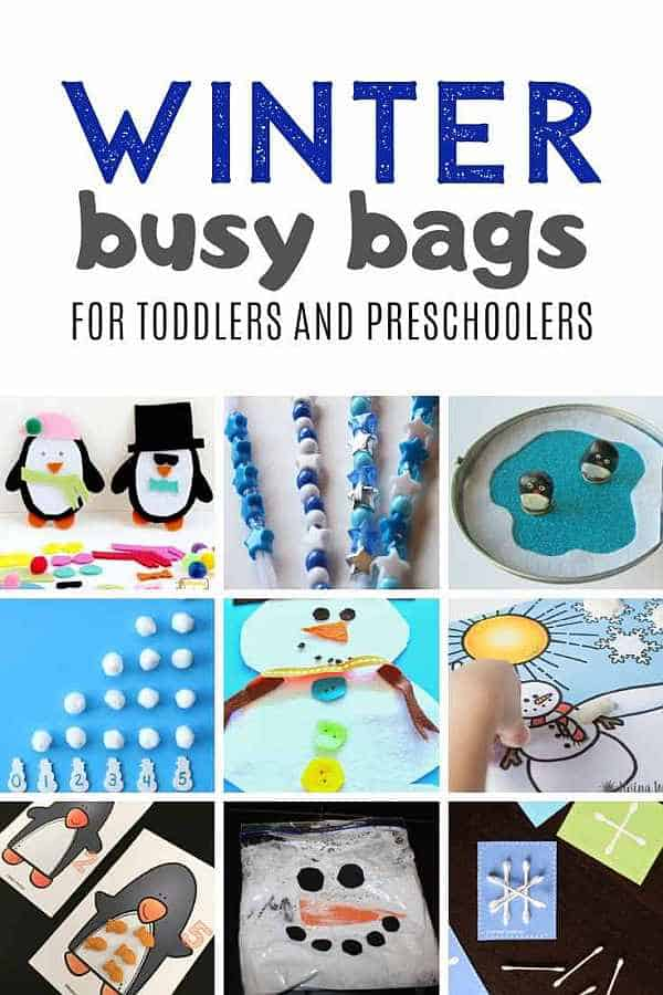 Stuck inside with kids during winter? Get a few winter busy bags ready to have on hand for your toddlers and preschoolers when they get restless and bored with their toys!  #winter #busybags #playideas #boredombuster #toddleractivities #preschoolactivites #besttoys4toddlers #snowflake #snowman #penguin #snowball #winterdressup #winterweather