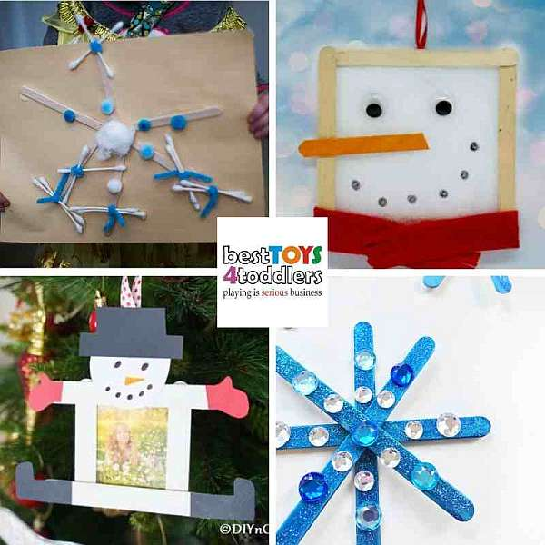 popsicle stick winter crafts for kids - snowflakes and snowman picture frames