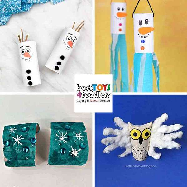 recycled winter crafts for kids from paper tubes - olaf, snowman windsock, frozen bracelets, snow owl