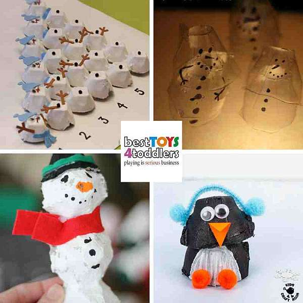 green winter crafts for kids with egg crates - counting snowmen, light table snowman, bird feeder, penguin