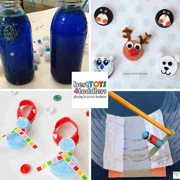 green winter crafts for kids from plastic bottles and caps - sensory bottle, winter animals, snowman, snowboarding
