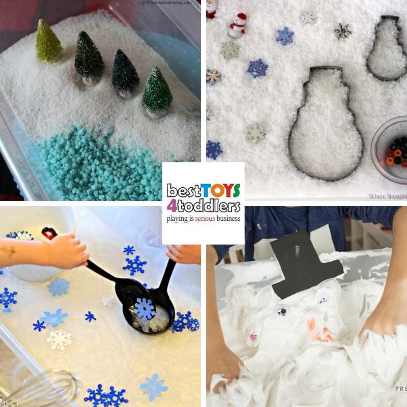 many different ways to make a fake snow for winter sensory play - Winter Wonderland Sensory Bin, Winter Snowman Sensory Box, Snowflake Sensory Soup, Melted Snowman Sensory Bin