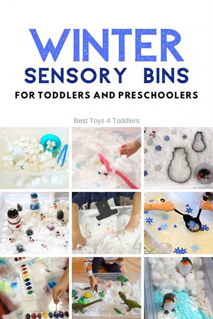 Put together a winter sensory bin for your toddlers and preschoolers and let them enjoy playing in a warmth of your home. We have sensory bins with real snow, different bases for fake snow, sensory bins to explore Arctic and Antarctic, and Frozen inspired sensory bins for Olaf, Elsa and Anna fans! #winter #sensoryplay #sensorybin #realsnow #indoorplay #playideas #arcticanimals #antarctica #frozensensorybin #fakesnow #toddleractivities