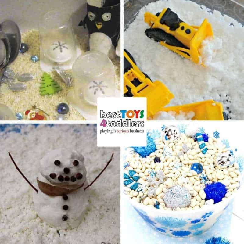 winter sensory play ideas with different bases to prepare for toddlers and preschoolers - Winter Shine Sensory Bin, Constuction Vehicles in a Snow, Snowman Sensory Bin, Easy Winter Sensory Bin