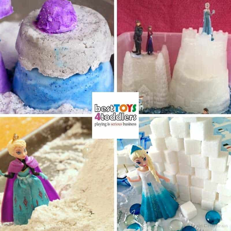 frozen inspired sensory play for toddlers and preschoolers to enjoy indoors on a gloomy winter day - Frozen Baking Soda Dough, Frozen Sensory Bin, Frozen Snow Dough, Elsa's Ice Palace