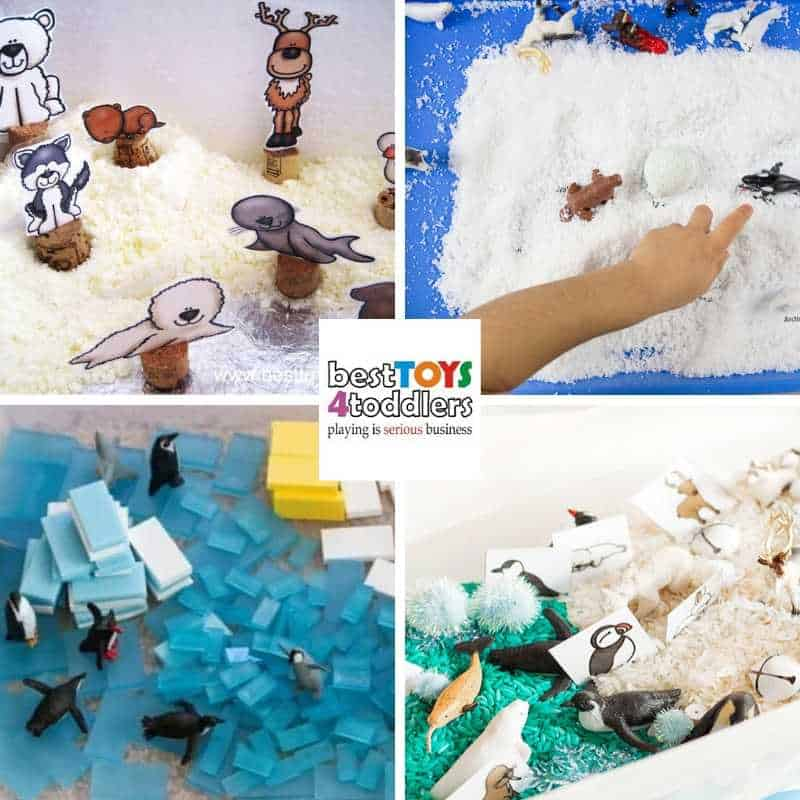 explore arctic animals and their habitat through sensory play - Arctic Animals Small World, Arctic Animals Snow Hunt, Penguin Sensory Bin, Arctic Animal Sensory Bin Matching Game