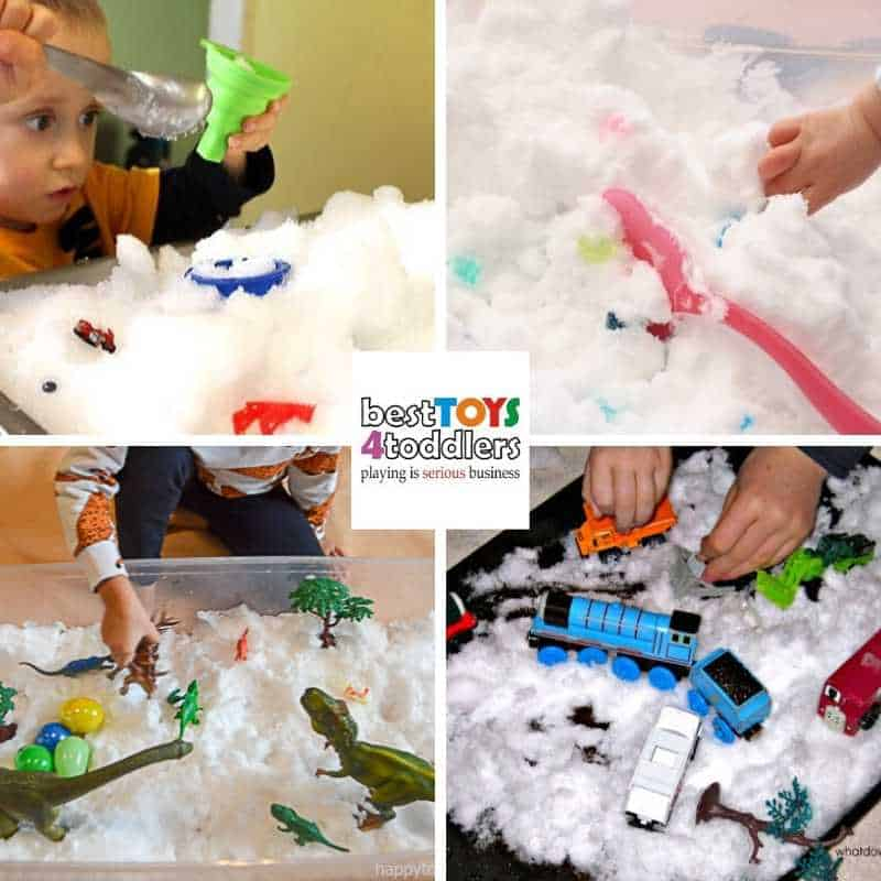 Indoor fun with real snow - winter sensory bins for toddlers and preschoolers to enjoy inside - Snow Sensory Bin, Diamond Dig Winter Sensory Bin, Snow Dinosaurs, Toy Truck Traffic Jam Winter Sensory Bin