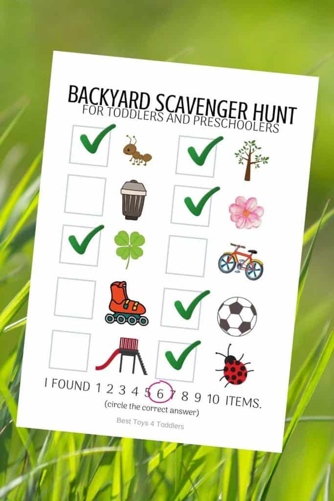 Grab free printable backyard photo printable scavenger hunt and let your toddlers and preschoolers have fun looking for clues!  #freeprintable #scavengerhunt #outdooractivities