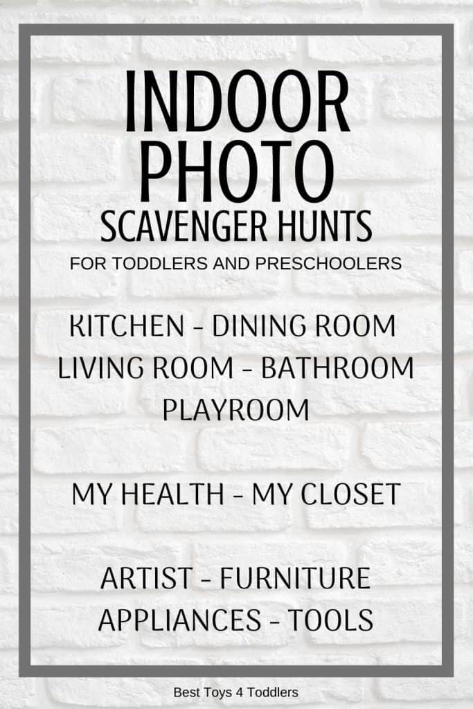 Family fitness with toddlers and preschoolers at home - printable indoor photo scavenger hunt