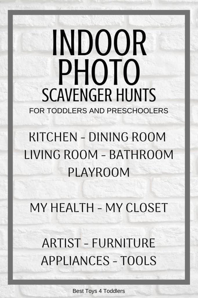 Indoor photo scavenger hunts for toddlers and preschoolers #scavengerhunt #rainyday #indoorplay #toddlers #preschoolers