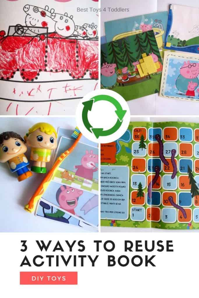 3 Ways to upcycle and repurpose scribbled activity books by turning them into games, activities and decorations