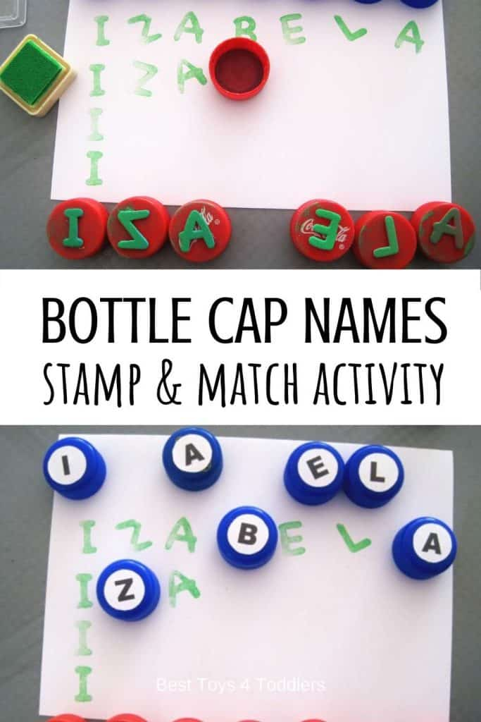 Recycled bottle cap letters - stamp and match name recognition activity for toddlers and preschoolers