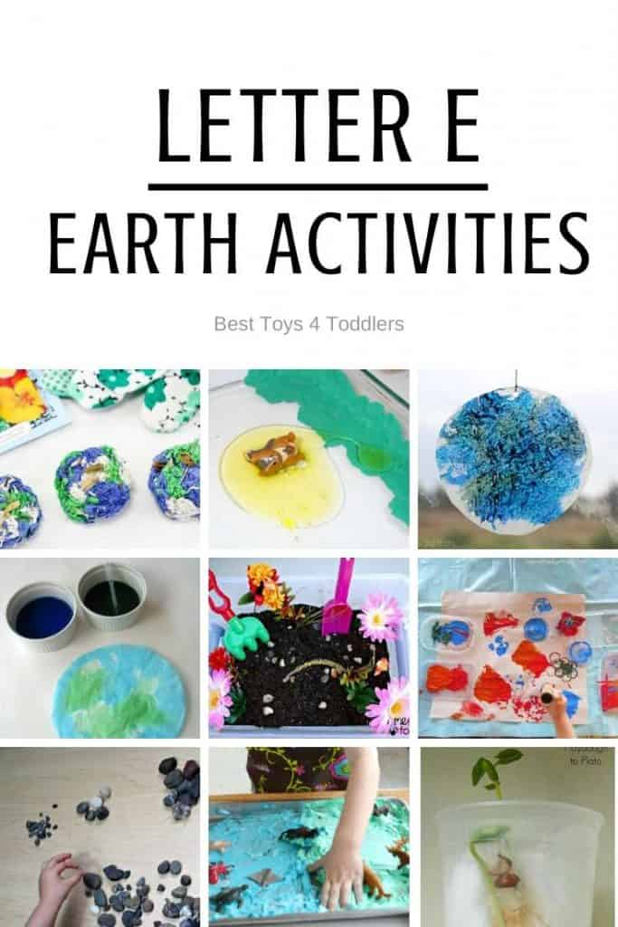Letter E for Earth - playful learning activities for toddlers and preschoolers planned for 7 days of tot school / preschool
