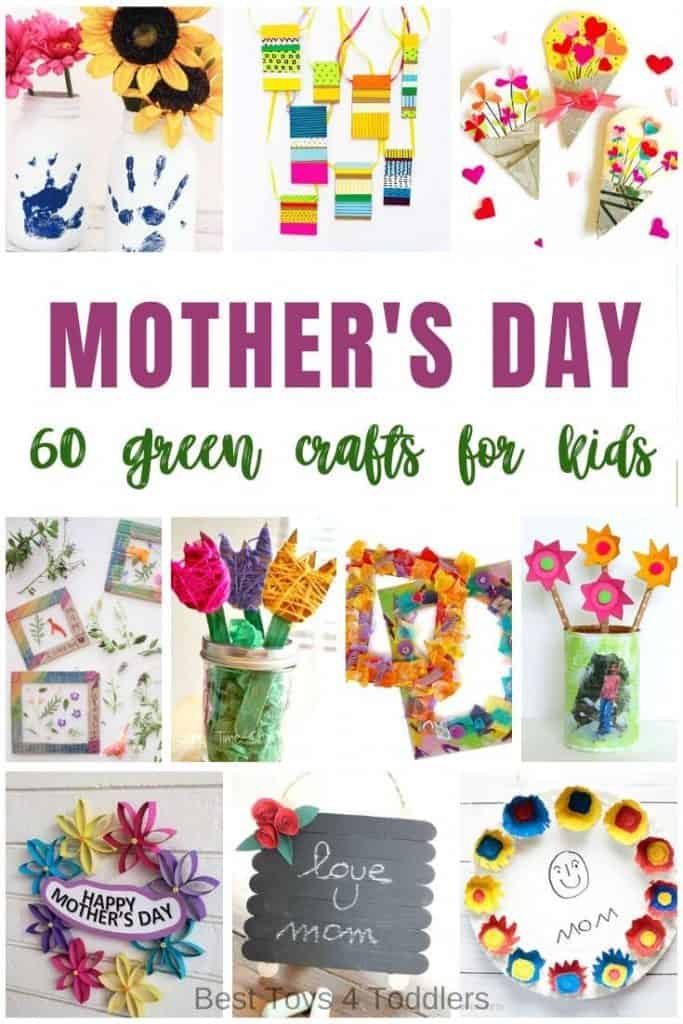 60 Green Mother's day crafts for kids to make and give to moms - all made from recycled materials