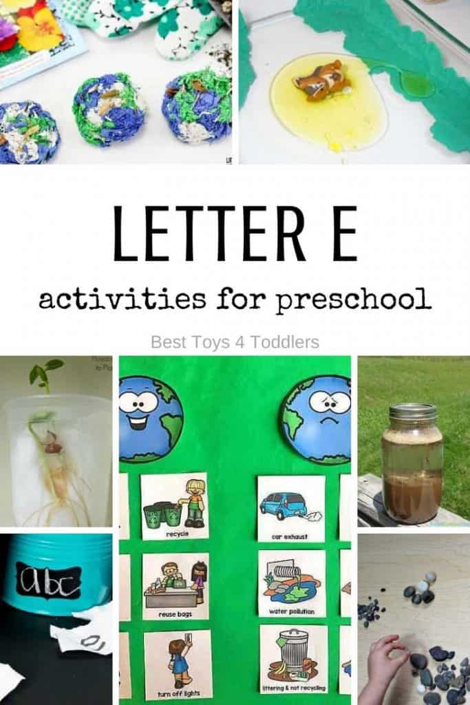 Learning Activities About Earth and Letter E for preschool - science, letters and more