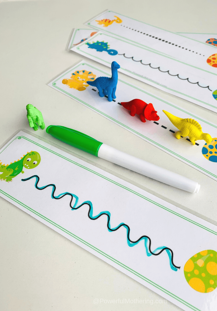 tracing lines with dinosaurs