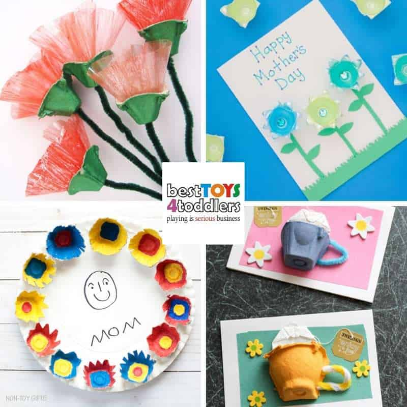 Mother's day egg carton crafts kids can make as gifts