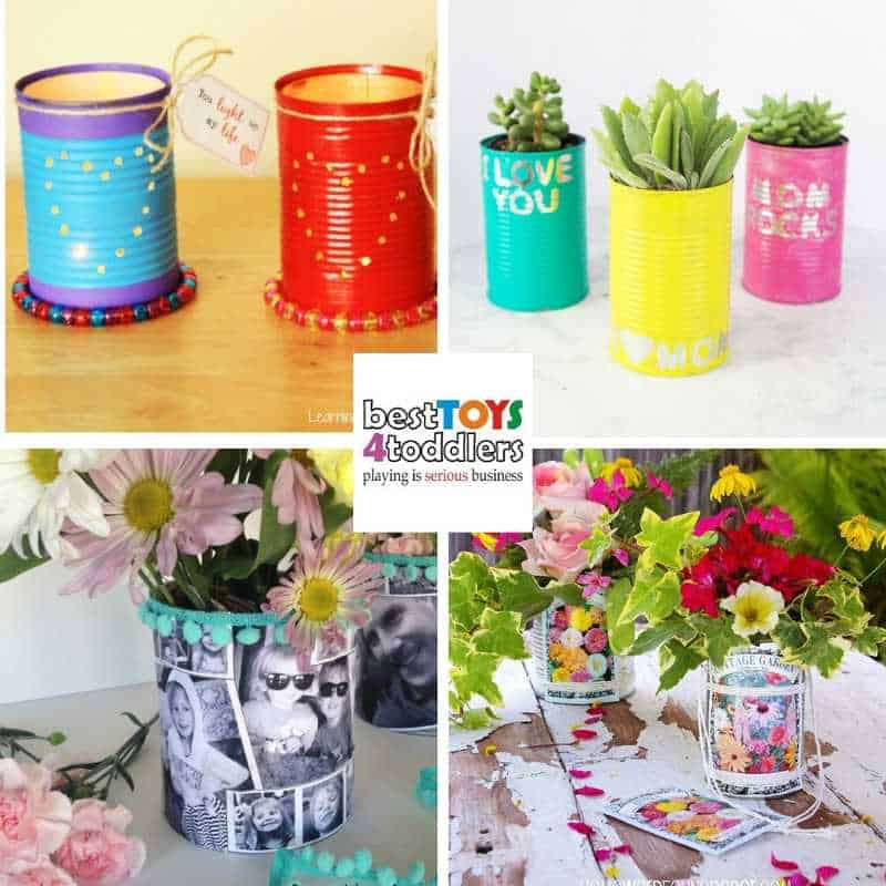 Recycled Mother's day gifts kids can make from a tin can