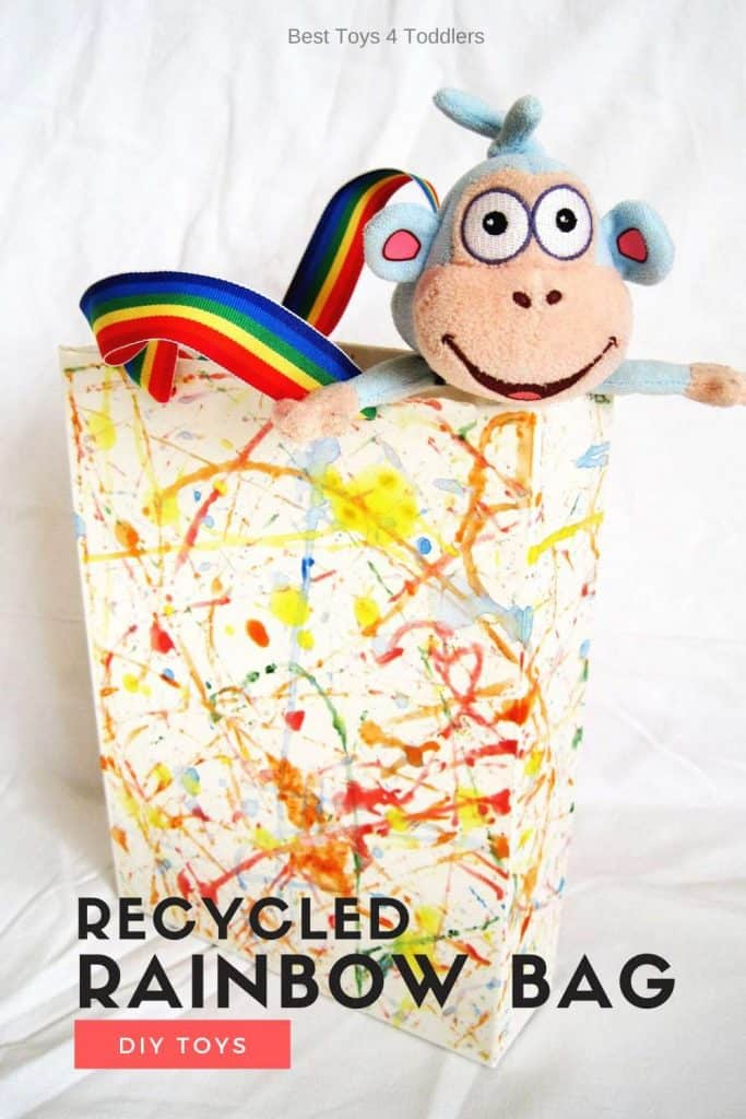 DIY toys - recycled cereal box turned into a rainbow purse to carry around child's favorite plush toys!