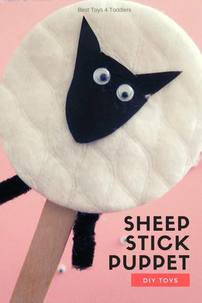 Make a simple sheep stick puppet for pretend play and sing along with a children's favorite nursery rhyme Baa Baa Black Sheep!