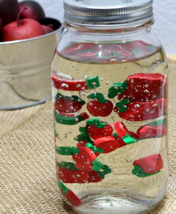 DIY apple sensory bottle