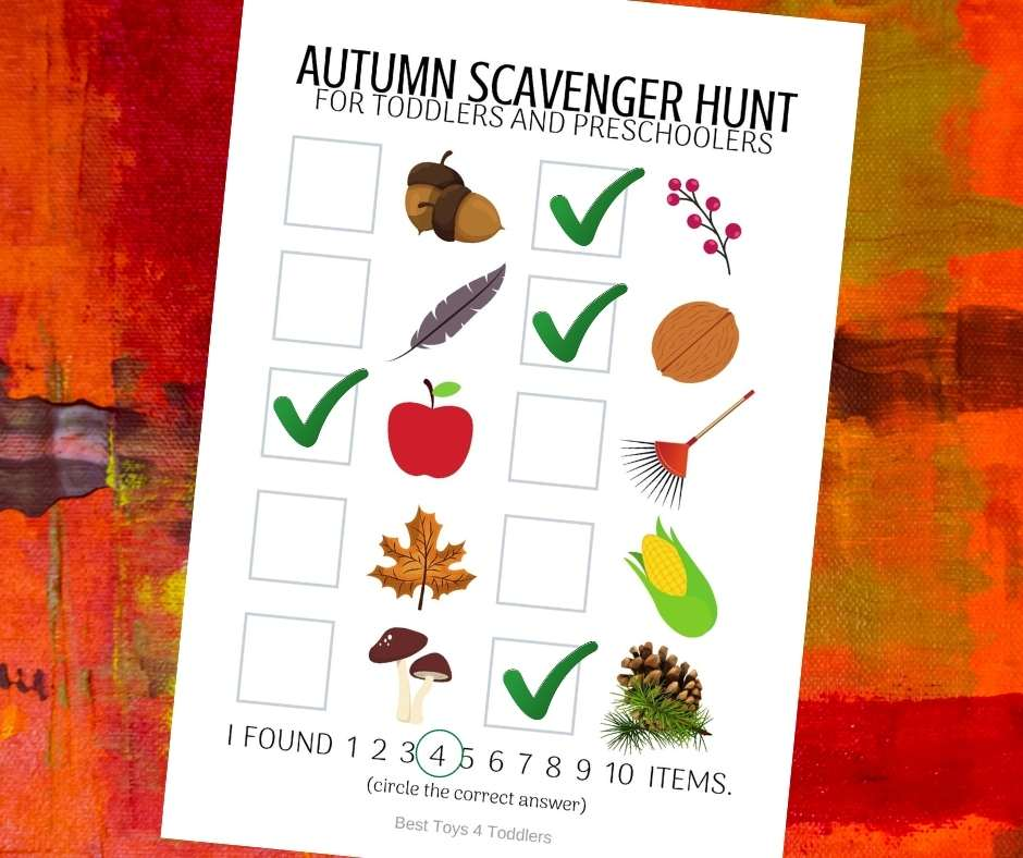 Free printable autumn photo scavenger hunt for toddlers and preschoolers