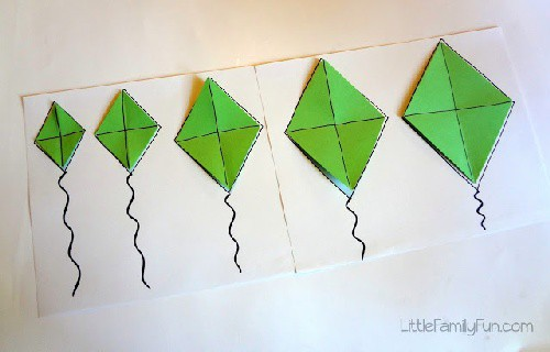Small to Big Kite Activity for Preschoolers