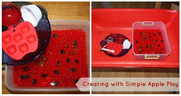 Water Beads Apples Sensory Bin