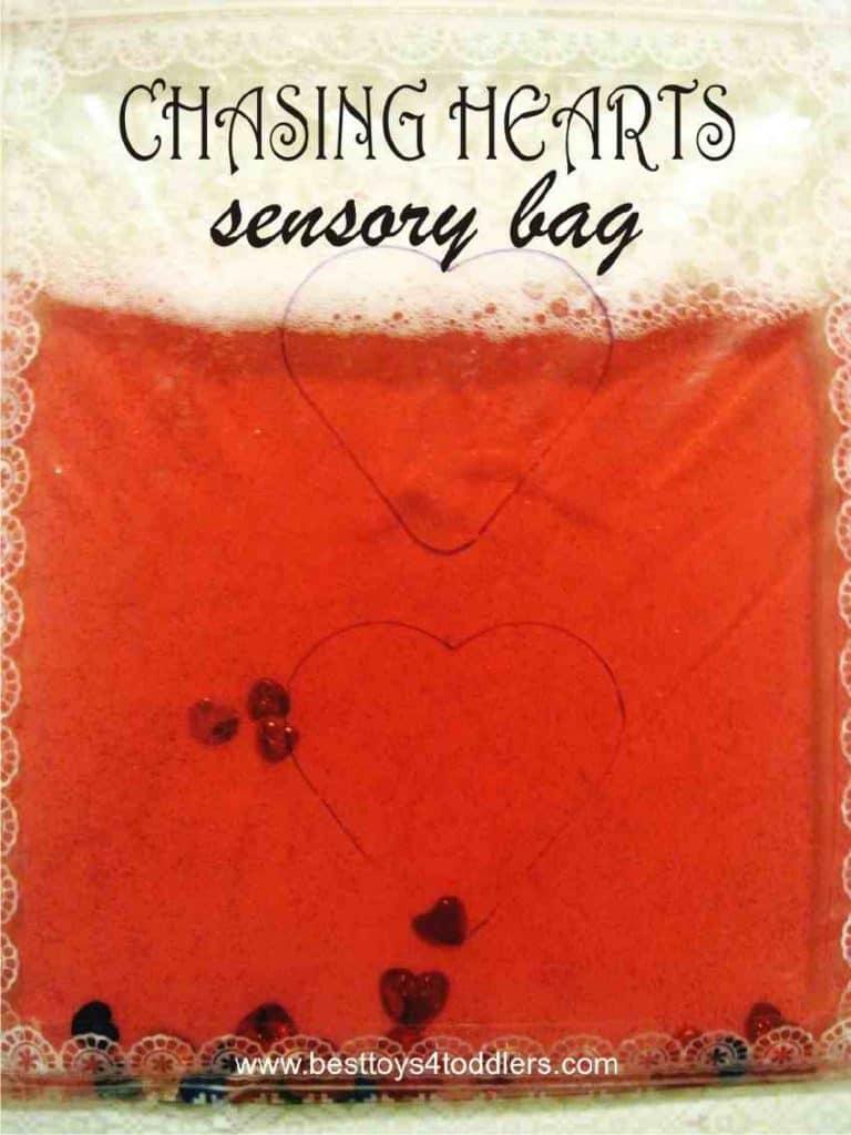 Chasing Hearts Sensory Bag - easy Valentine's day sensory activity for toddlers #sensoryplay #finemotor #valentinesday #sensorybag