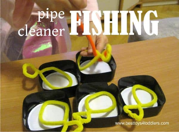 Easy to set up fishing game with pipe cleaners