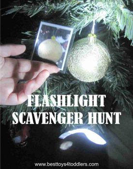 Flashlight Scavenger Hunt for kids, we used Christmas tree but there are several alternatives mentioned in post!
