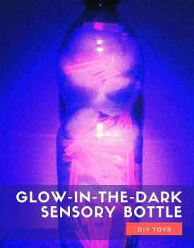 Glow-in-the-dark sensory bottle without any liquid materials is perfect for babies and toddlers. No fear about breaking or spilling!
