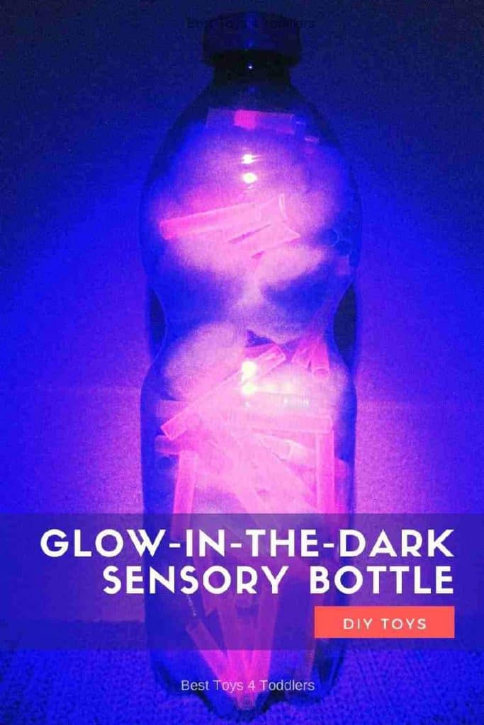 Glow-in-the-dark sensory bottle without any liquid materials is perfect for babies and toddlers. No fear about breaking or spilling! #sensoryplay #sensorybottle #calmdown #bedtime #babyplay #toddleractivities