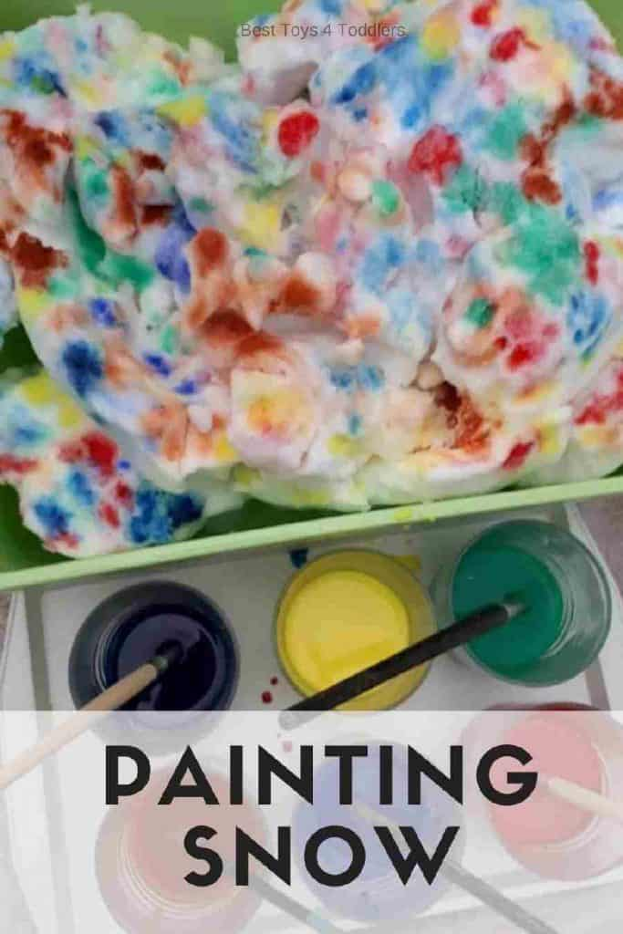 Best Toys 4 Toddlers - Painting snow is an art activity kids can do indoors during this winter. #snow #painting #artactivity #indoors #winter