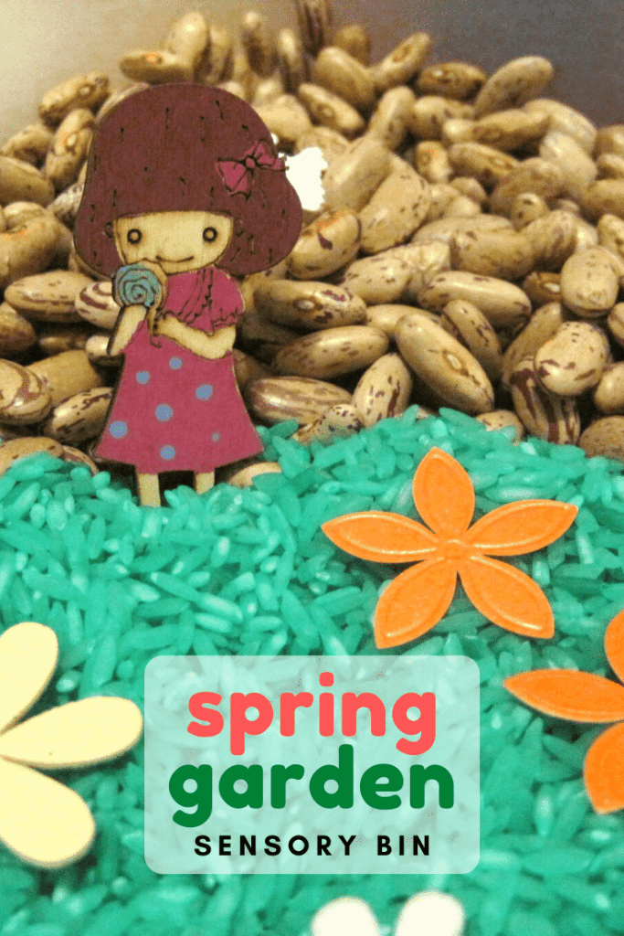 Set up a spring garden sensory bin for your children and allow them to explore spring and enjoy new tactile experiences. #sensorybin #spring #tactile #senseoftouch #sensorytub #toddleractivities