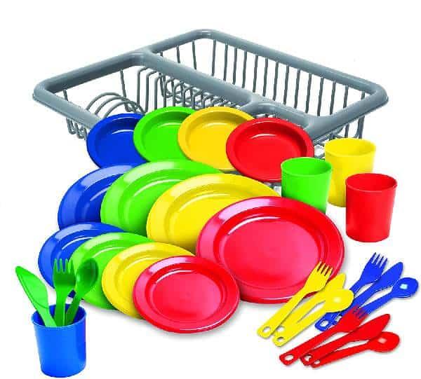 Kidzlane Durable Kids Play Dishes - Pretend Play Childrens Dish Set