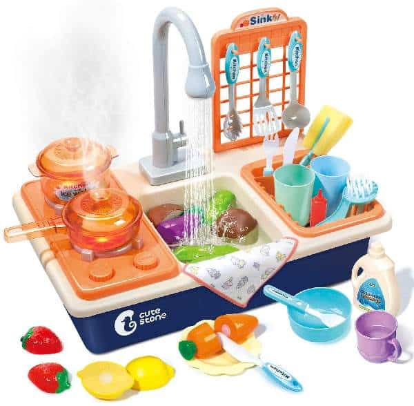 Pretend Play Kitchen Sink Toys with Play Cooking Stove
