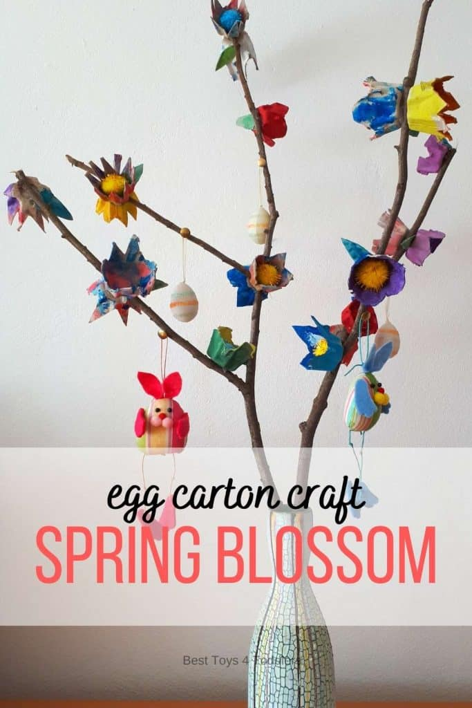 Egg carton spring blossom - perfect recycled craft to make with kids and display to welcome spring and Easter!