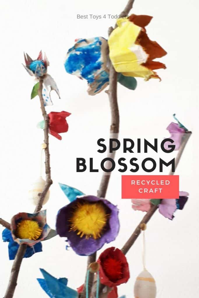 Spring blossom recycled craft - With spring coming, weather is finally looking better and brighter. It's perfect time of the year to head outside for a walk, pick few fallen tree branches and use recycled egg cartons to make spring blossom with kids!