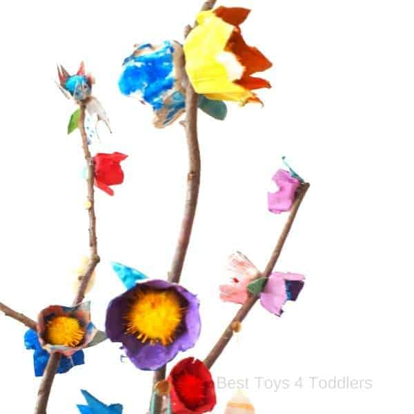 egg carton and tree branch spring blossom